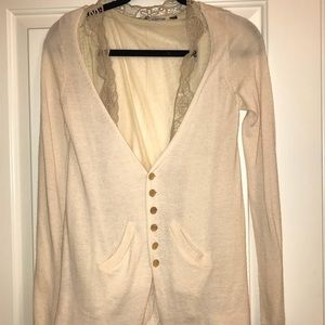 Anthropologie light pink cardigan, lace detail